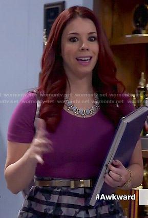 Tamara's purple top and striped skirt on Awkward
