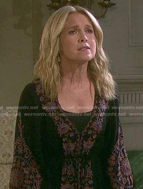 Jennifer's black floral trim peasant dress on Days of our Lives