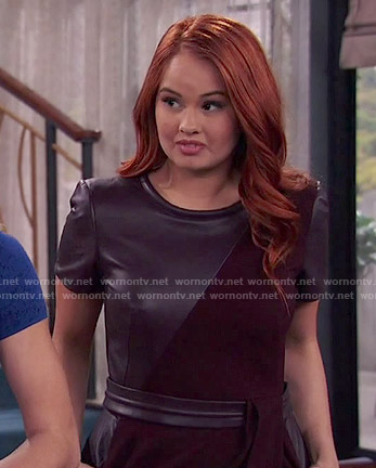 Jessie's black leather panel dress on Jessie
