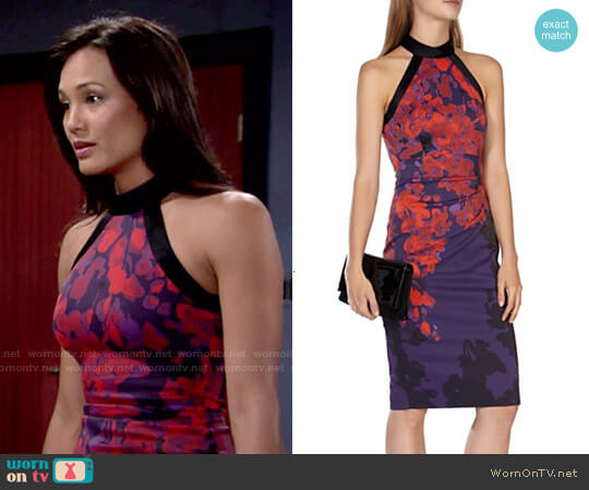 Karen Millen Floral Print Dress worn by Gwen on The Young and the Restless