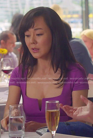 Karen's purple split-neck dress on Mistresses