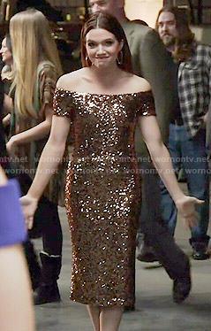 Karma's sequin off-shoulder dress on Faking It