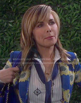 Kate's blue sunflower print blazer on Days of our Lives