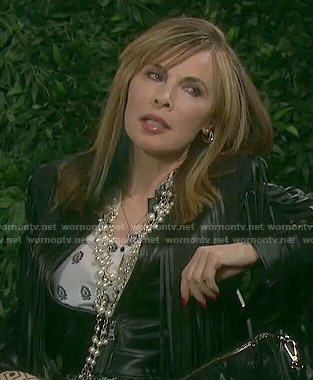 Kate's fringed leather jacket and printed blouse on Days of our Lives