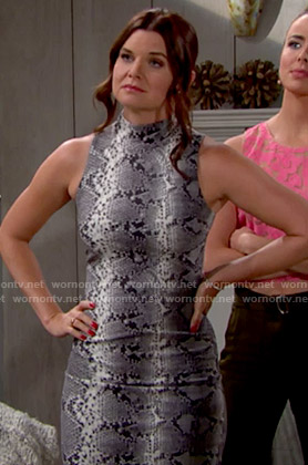 Katie's snake print high-neck dress on The Bold and the Beautiful
