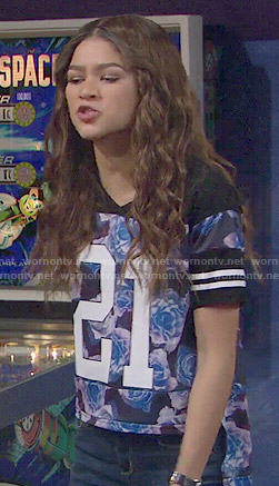KC's floral '21' top on KC Undercover
