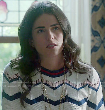 Laurel's chevron striped sweater on How to Get Away with Murder