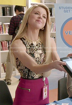 Lauren's gold floral top and pink skirt on Faking It