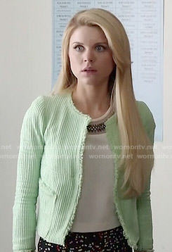 Lauren's mint textured jacket on Faking it