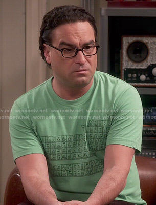 Leonard's green periodic table tee on The Big Bang Theory