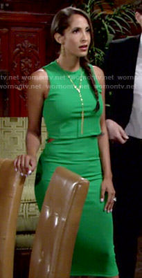 Lily's green overlay dress on The Young and the Restless