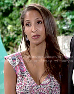 Lily's pink floral v-neck dress on The Young and the Restless