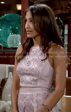 Lily's pink leather laser cutout crop top and skirt set on The Young and the Restless
