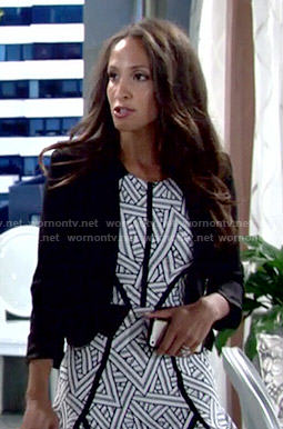 Lily's striped pattern dress on The Young and the Restless