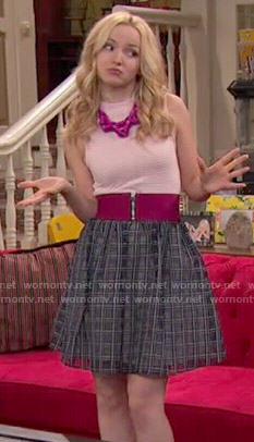 Liv's black checked skirt and pink zip belt on Liv and Maddie