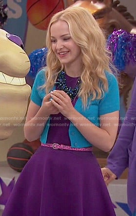 Liv's purple dress and blue cropped cardigan on Liv and Maddie