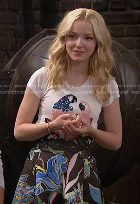 Liv's sequin bird tee and tropical print skirt on Liv and Maddie