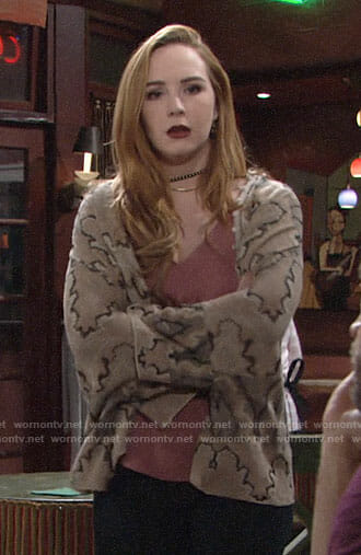 Mariah's brown patterned cardigan on The Young and the Restless