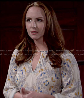 Mariah's floral top with asymmetric hem on The Young and the Restless