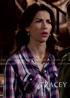 Marisa's navy and pink plaid shirt on The Young and the Restless