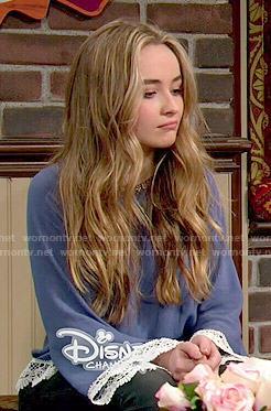 Maya's blue crochet trim blouse on Girl Meets World