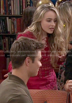 Maya's red printed lace-up dress on Girl Meets World