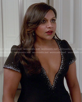 Mindy's black deep v-neck dress with embellished trim on The Mindy Project