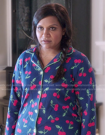 Mindy's cherry print pajamas on The Mindy Project