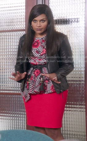 Mindy's houndstooth and floral peplum top on The Mindy Project