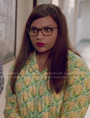 Mindy's pineapple print pajamas on The Mindy Project