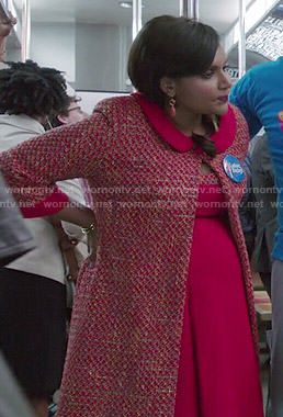 Mindy's red tweed coat and dress on The Mindy Project