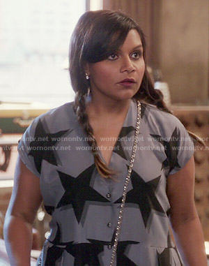 Mindy's grey star print jumpsuit on The Mindy Project