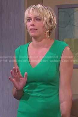 Nicole's green v-neck dress on Days of our Lives