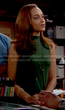 Nicole's green high-neck dress on The Bold and the Beautiful