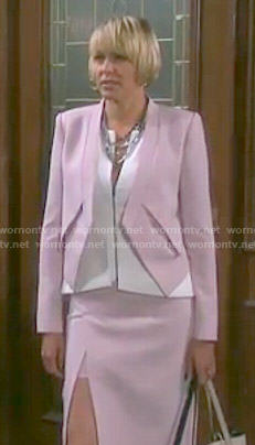 Nicole's white zip front top and pink blazer and skirt on Days of our Lives