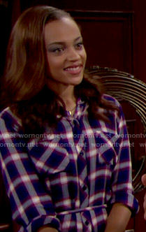 Nicole's plaid shirtdress on The Bold and the Beautiful