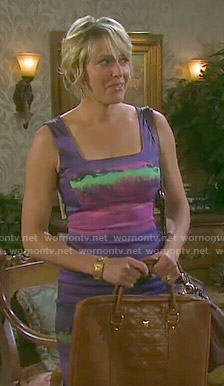 Nicole's purple paint print dress on Days of our Lives