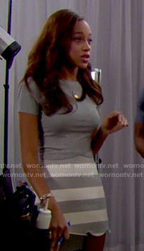 Nicole's grey striped skirt and top on The Bold and the Beautiful