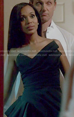 Olivia's black asymmetric gown on Scandal