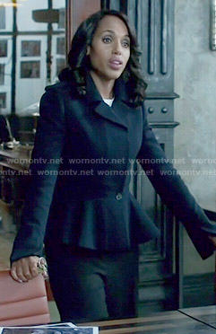 Olivia's navy peplum jacket on Scandal
