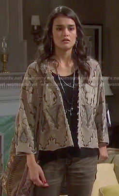 Paige's brown printed jacket on Days of our Lives