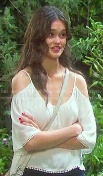 Paige's white cold-shoulder top on Days of our Lives