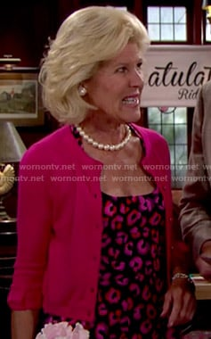 Pam's pink leopard print dress on The Bold and the Beautiful