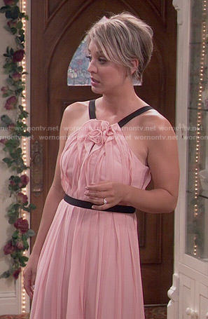 Penny's blush pink wedding dress on The Big Bang Theory