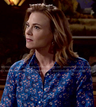 Phyllis's blue floral shirt on The Young and the Restless