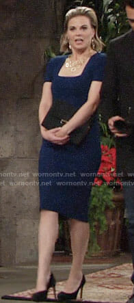 Phyllis's blue short sleeved dress on The Young and the Restless