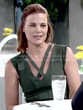 Phyllis's green cross strap dress on The Young and the Restless