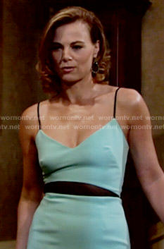 Phyllis's mint green colorblock dress on The Young and the Restless