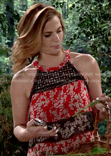 Phyllis's red and black floral top on The Young and the Restless