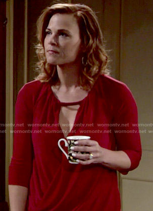 Phyllis's red draped wrap top on The Young and the Restless
